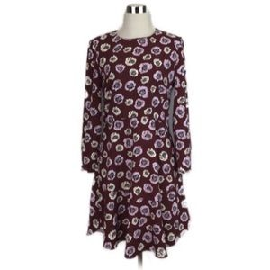 Ann Taylor Loft Burgundy Floral Swing Dress Sz 2
